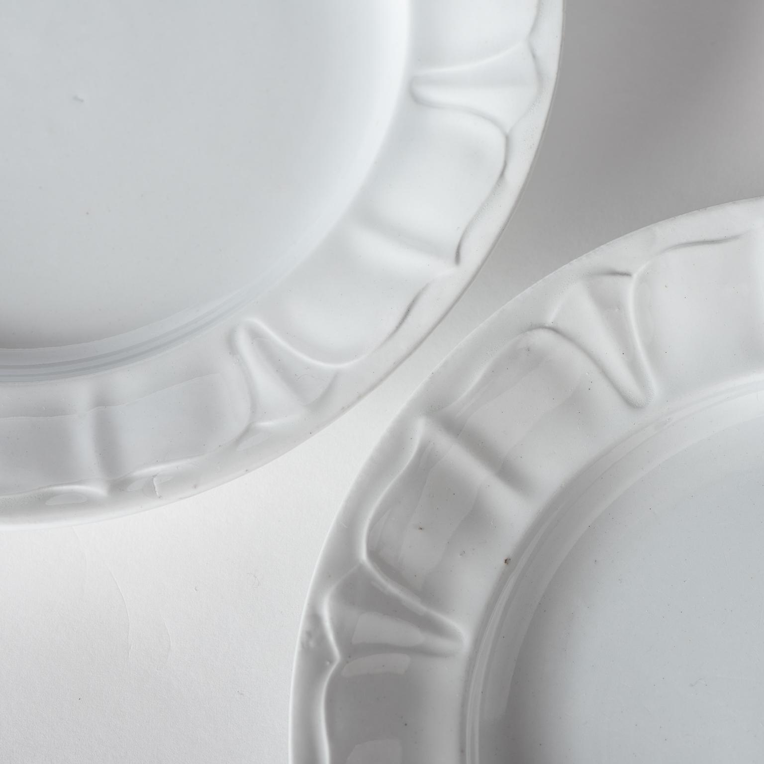 & Six White Ironstone Dinner Plates Sydenham Pattern England