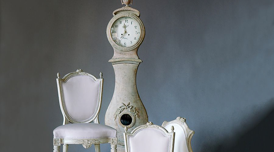 Three  Swedish Rococo Chairs and Mora Clock