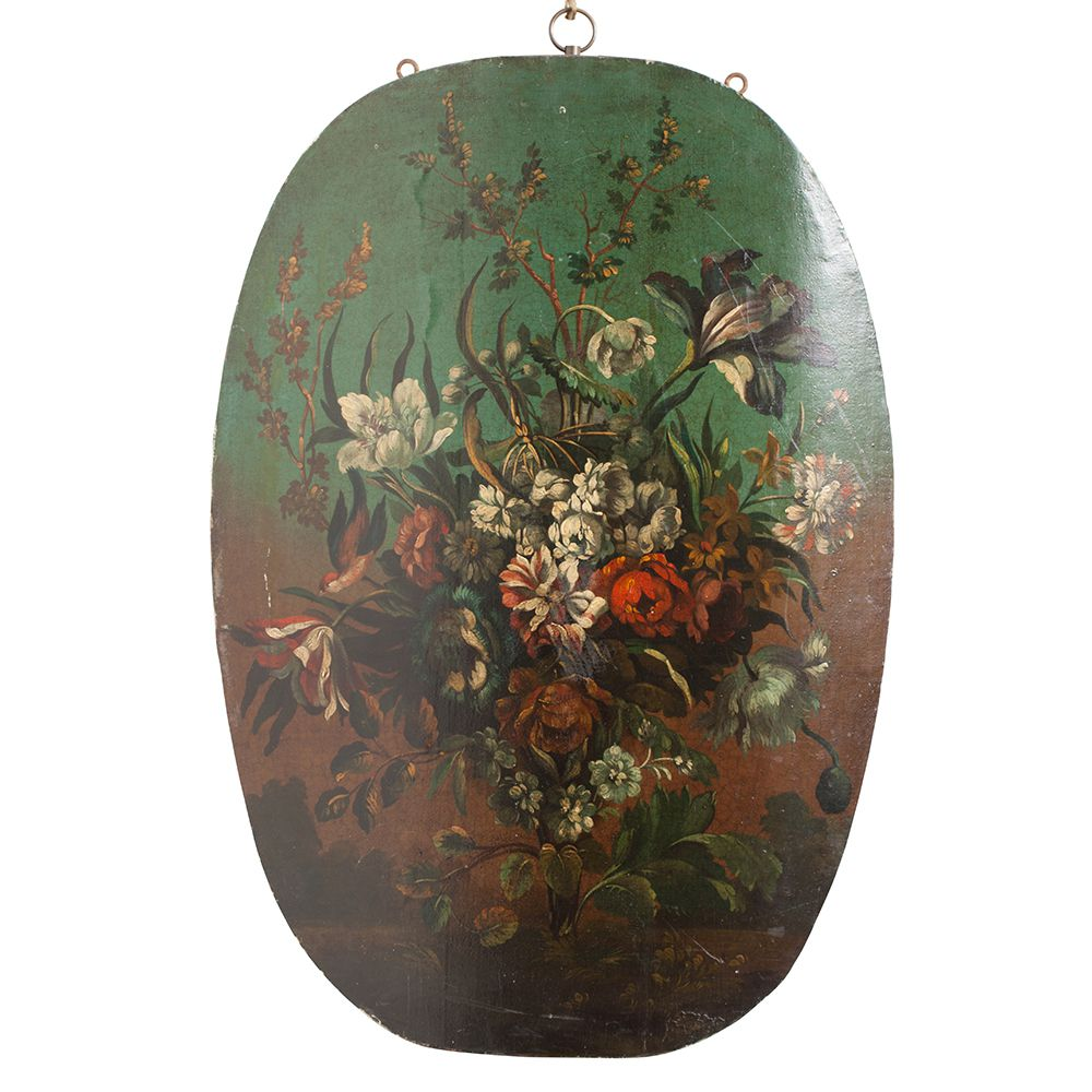 7-4999_Oval_wood _flower_Painting