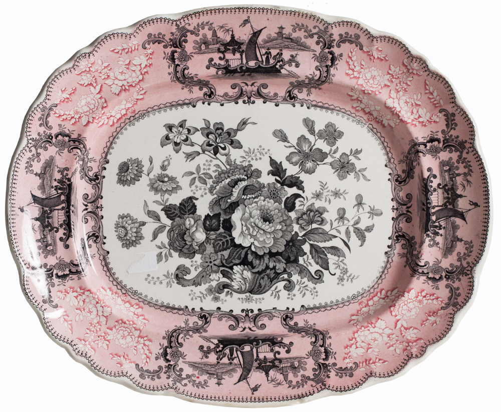 Pink Transfer Platter main Dawn Hill Swedish Antiques