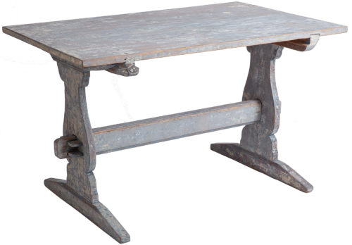 A Swedish Antique Blue Painted Trestle Table, circa 1880