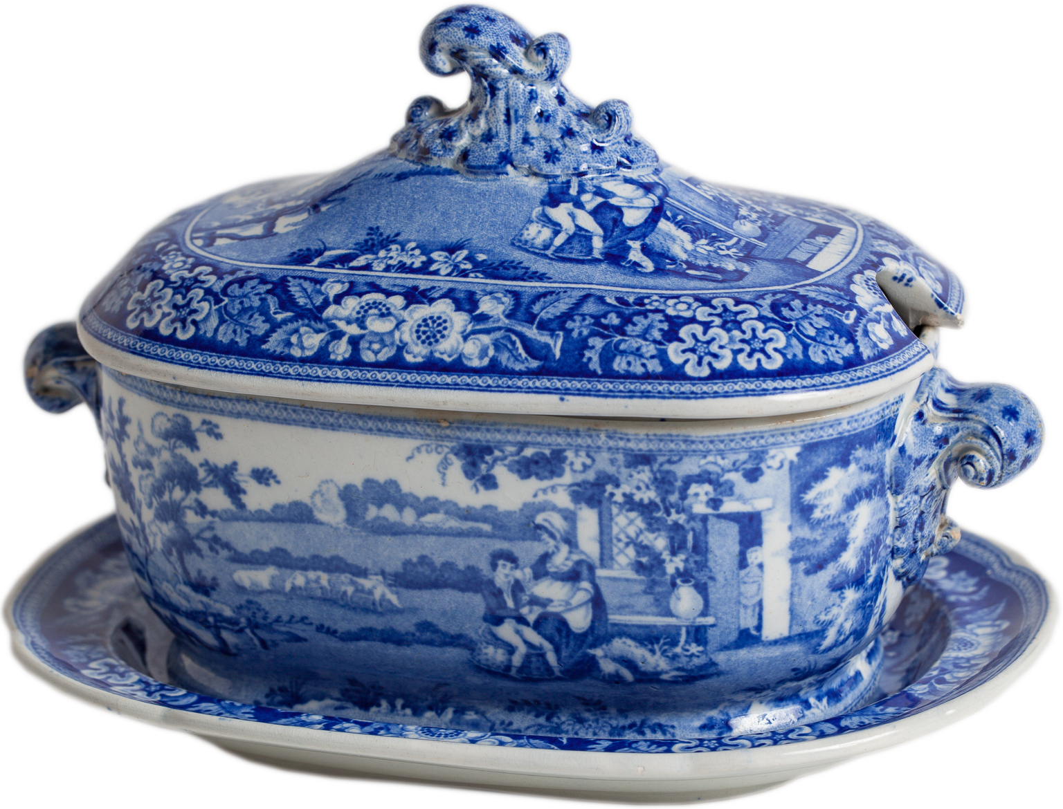 blue and white blind boy sauceboat dawn hill swedish antiques