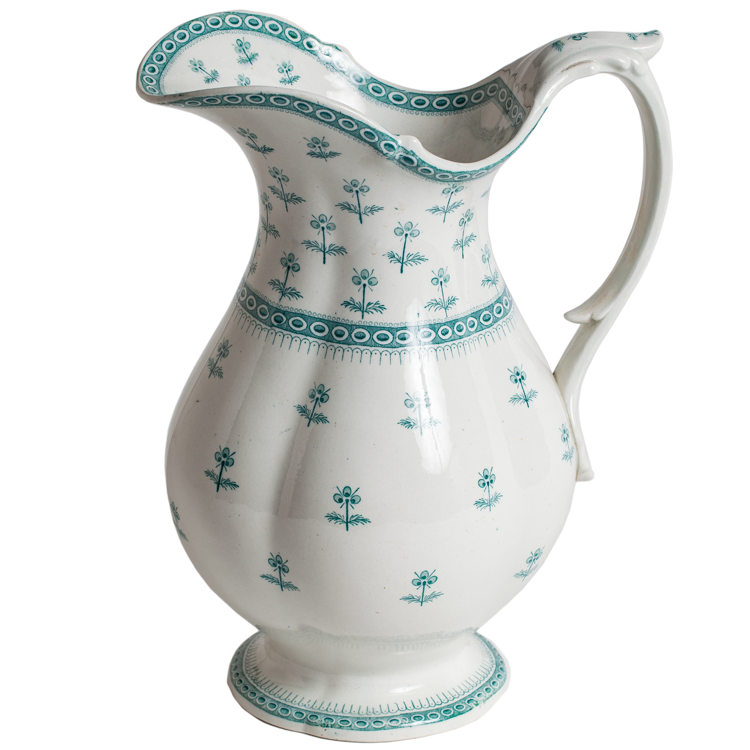 ironstone pitcher green details dawn hill swedish antiques