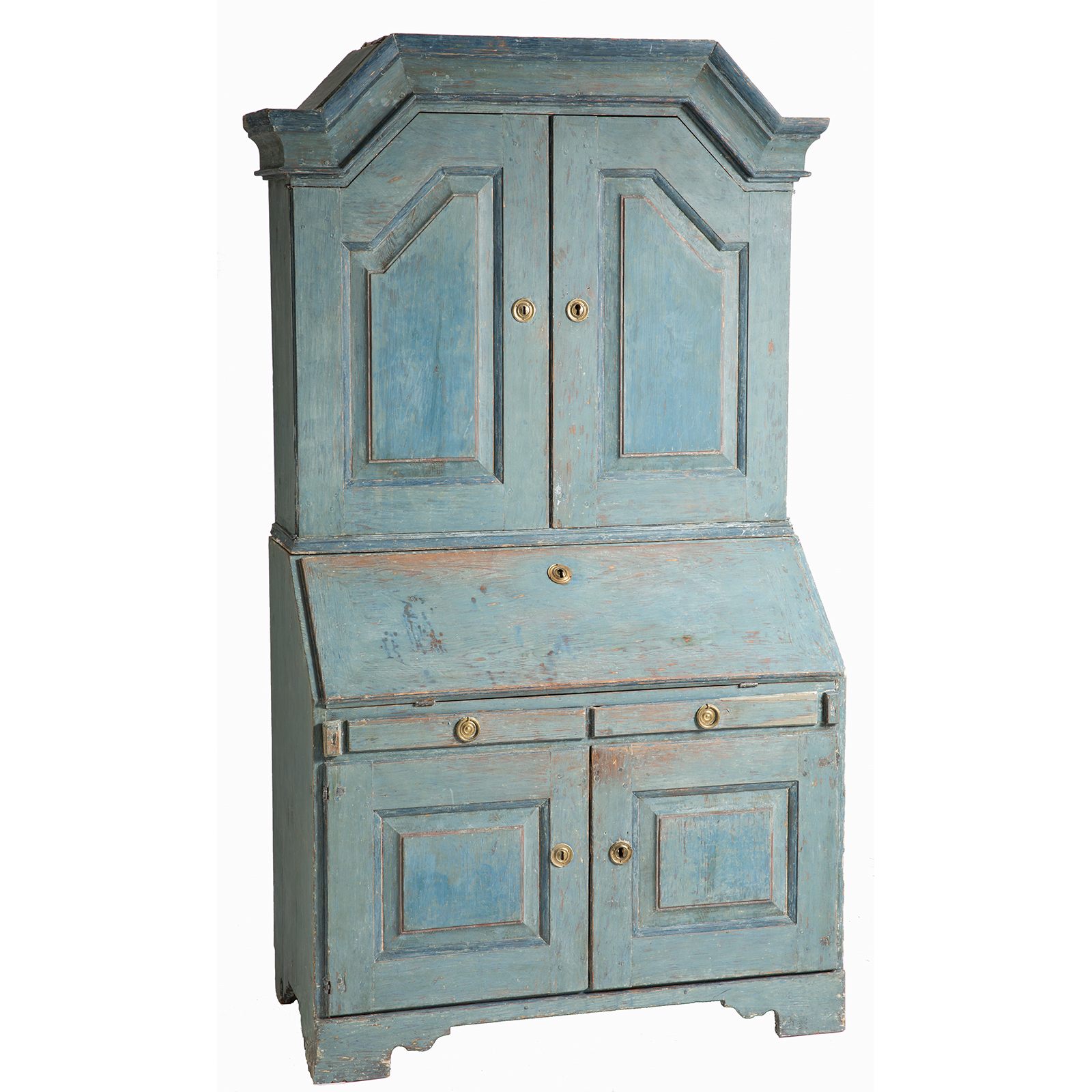 Swedish antique secretary original painted blue patina