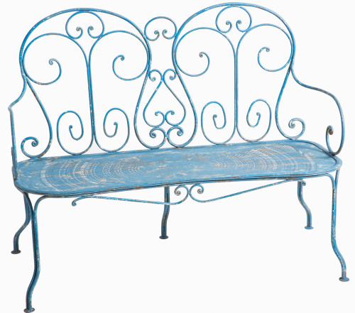 french garden bench cast iron blue original painted surface dawn hill swedish antiques