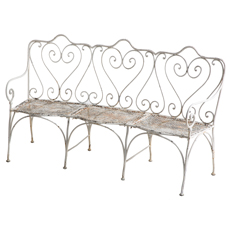 french white original painted patina garden bench