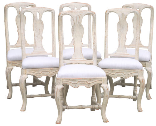 swedish rococo chairs antique painted