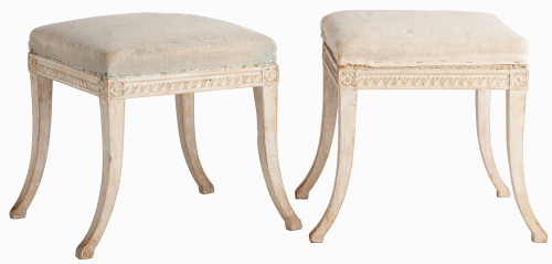 Swedish Gustavian antique stools original painted