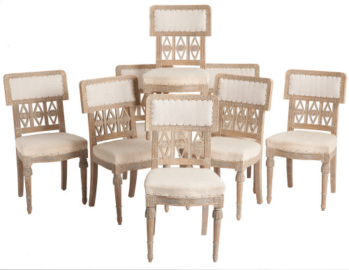 Eight Signed Swedish Gustavian Period Chairs, Lindome, circa 1780 dawn hill swedish antiques