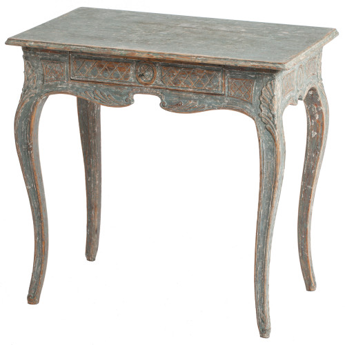 A Swedish Rococo Period Console Table in a Seafoam Paint, circa 1760 dawn hill swedish antiques