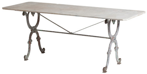 A Large French Garden Table with Original Marble Top swedish antiques french antiques