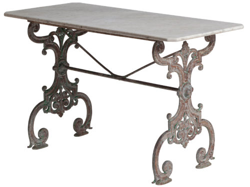 A French Cast Iron Garden Table with Marble Top swedish antiques european antiques