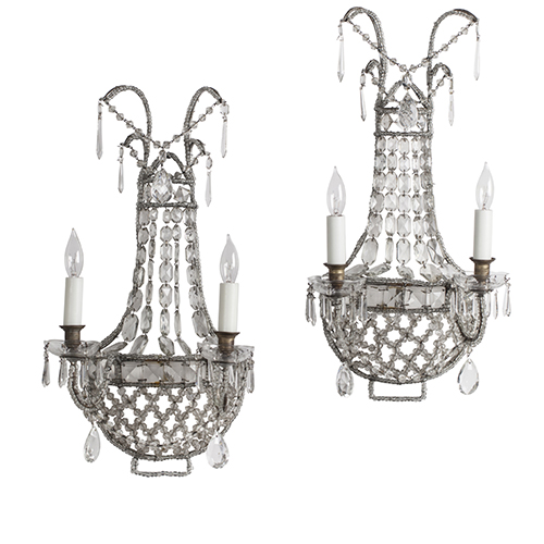 A Pair of Antique French Crystal Sconces, circa 1920