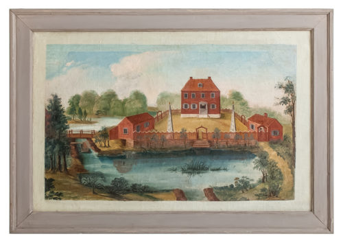 A Swedish Folk Art Wall Painting, Oil on Linen, circa 1800 dawn hill swedish antiques