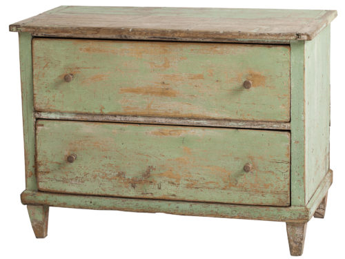 A French Green Painted Chest of Drawers, circa 1820