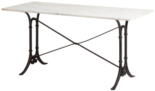 A Long French Bistro Table with White Marble Top, circa 1920 dawn hill swedish antiques