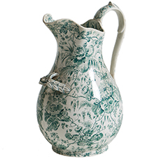 A French Green Floral Pitcher, circa 1880 french antique