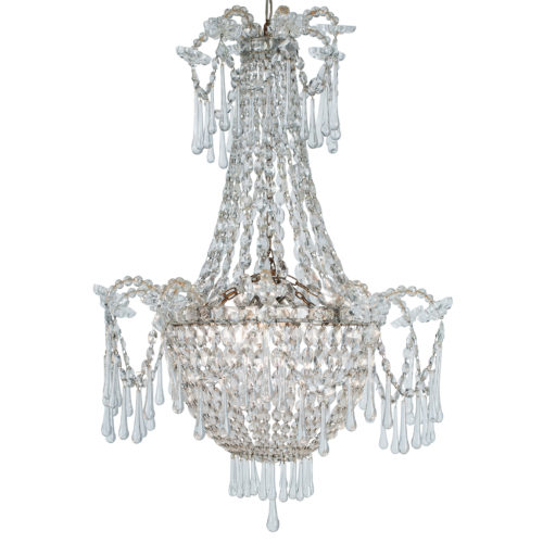 A French, late 19th century, Crystal Chandelier with Three Inner Lights