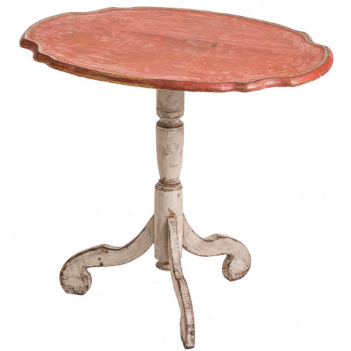 An Antique Swedish, Rococo Period, Coral Flip Top Table