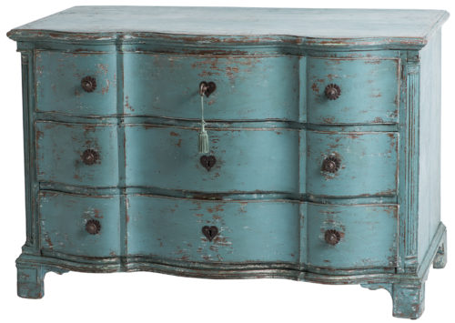 An Antique Swedish Baroque Period Blue Painted Chest, circa 1745