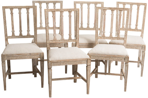 A Set of Six Swedish Gustavian Period Dining Chairs, circa 1800