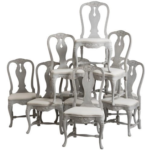 A Set of Ten Swedish Rococo Style Dining Chairs, circa 1900