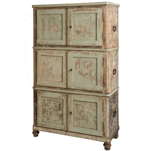 A Swedish Three Piece Cupboard in Original Green Paint, circa 1800