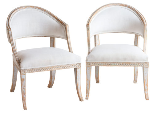 A Pair of Swedish, Late Gustavian, Barrel Back Chairs, circa 1810