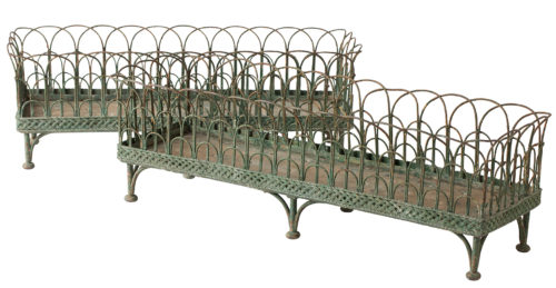 A Pair of French Wrought Iron and Wirework Jardinieres, Circa 1850