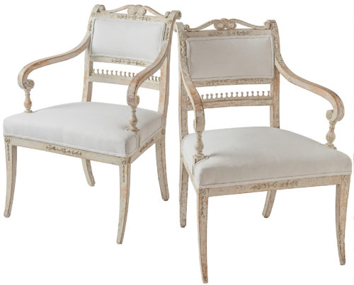 A Rare Pair of Gustavian Period Armchairs Circa 1800