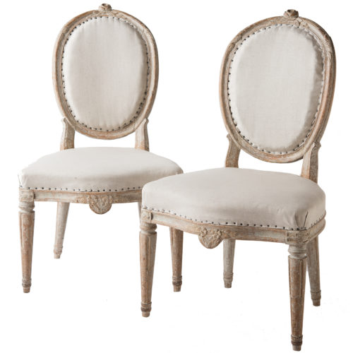 A Pair of Gustavian Period Stockholm Side Chairs Circa 1780