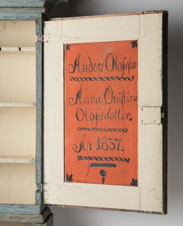 interior of wedding antique swedish cupboard