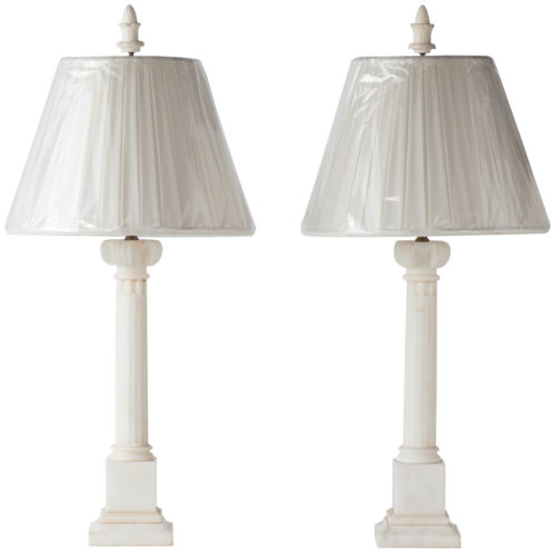 A Pair of American White Alabaster Lamps Circa 1950
