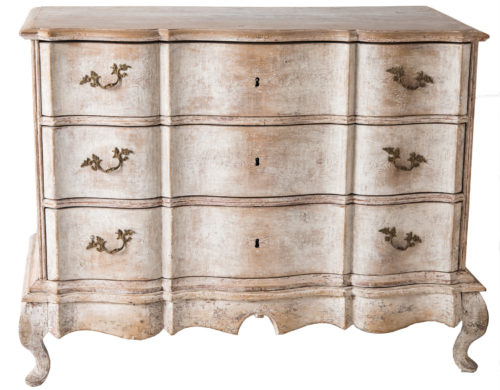 A Swedish Baroque Period Chest of Drawers in Two Parts Circa 1760