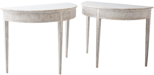 A Pair of Swedish White Painted Gustavian Style Demilunes Circa 1880