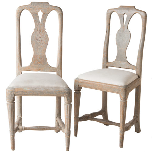A Pair of Swedish Signed Rococo Period Side Chairs Circa 1770