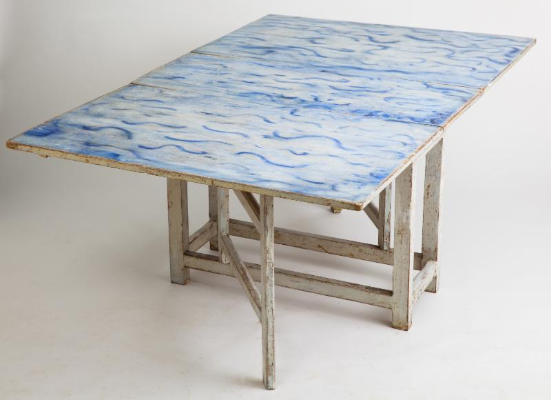 swedish antique drop leaf table blue waves