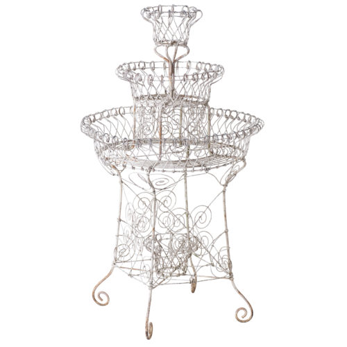 A French White Painted Wirework Plant Stand Circa 1900