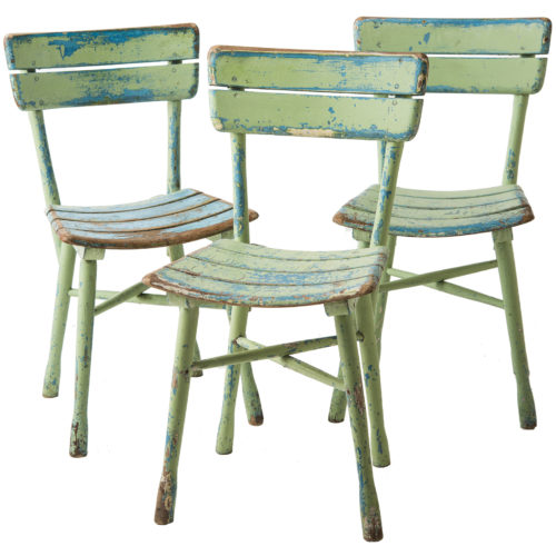 A Set of Three Thonet Green Painted Garden Chairs Circa 1940