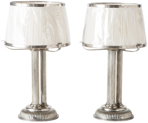 A Pair of English Silver plate Triple Column Table Lamps Circa 1900