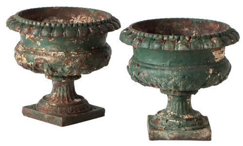 A Pair of French Cast Iron Small Urns Circa 1900