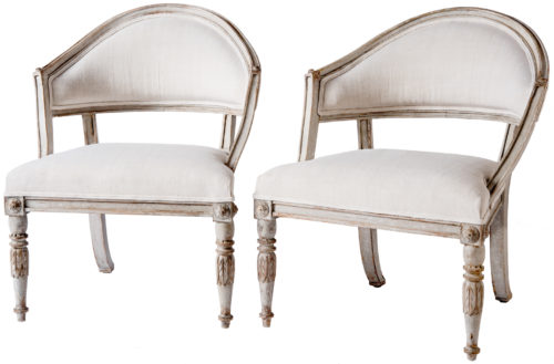 A Pair of Swedish Gustavian Style Barrel Back Chairs Circa 1850