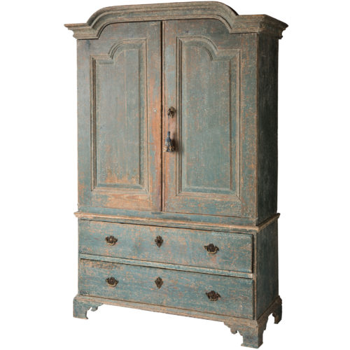 A Swedish Rococo Period Linen Press or Cupboard With Two Drawers Circa 1750-1760
