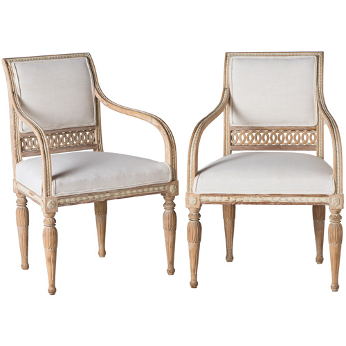 armchairs white back gustavian style