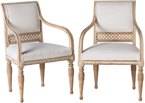 A Pair of Swedish Gustavian Period Armchairs Circa 1790