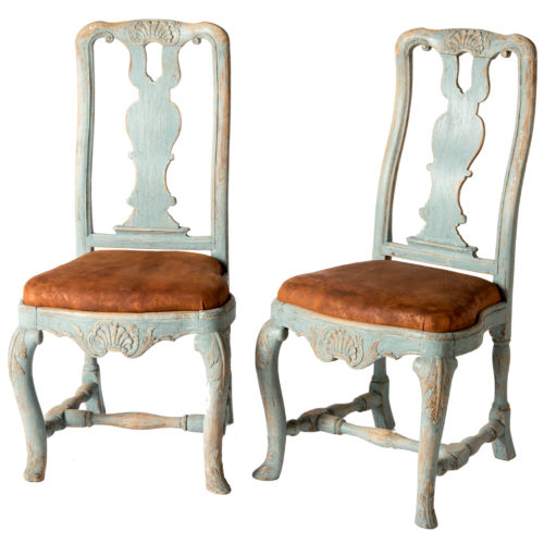 A Pair of Early Blue Painted Rococo Side Chairs Circa 1750