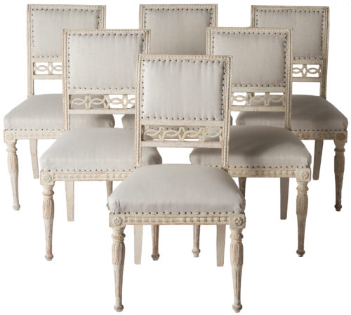 Six Stockholm Dining Chairs in Original Off White Paint Circa 1800