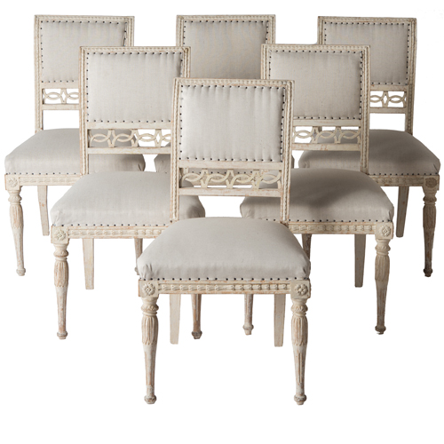 six gustavian chairs