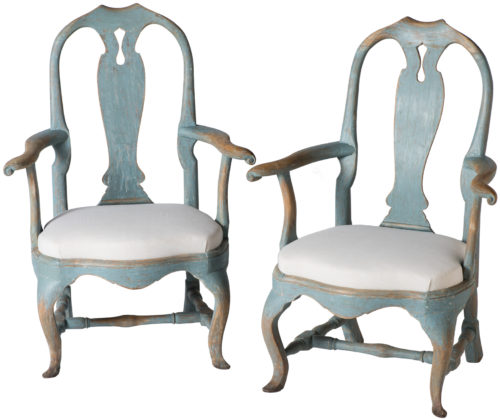 A Pair of Swedish Rococo Period Armchairs Circa 1770