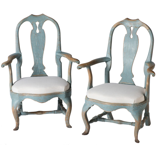 armchairs blue rococo